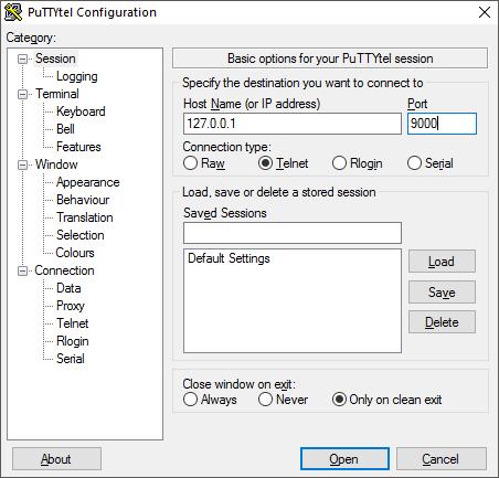 Putty - Telnet Localhost