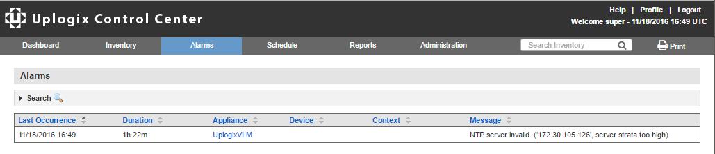 Uplogix Control Center - Alarms Page
