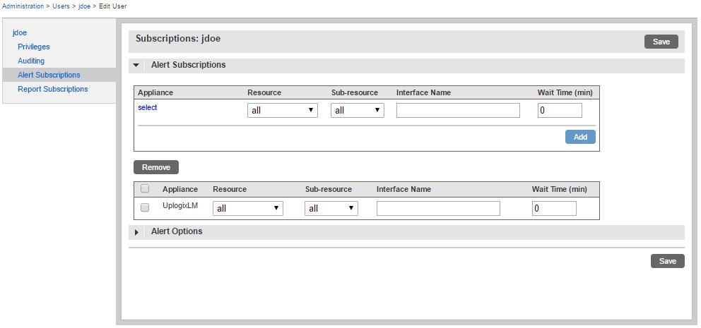 Uplogix Control Center - Alert Subscriptions