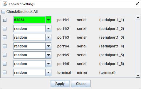 Uplogix Control Center - Applet Forward Settings