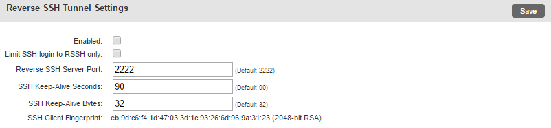 Uplogix Control Center LM Reverse SSH Settings