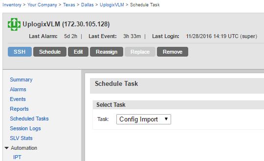 Uplogix Control Center - Local Manager - Schedule Task