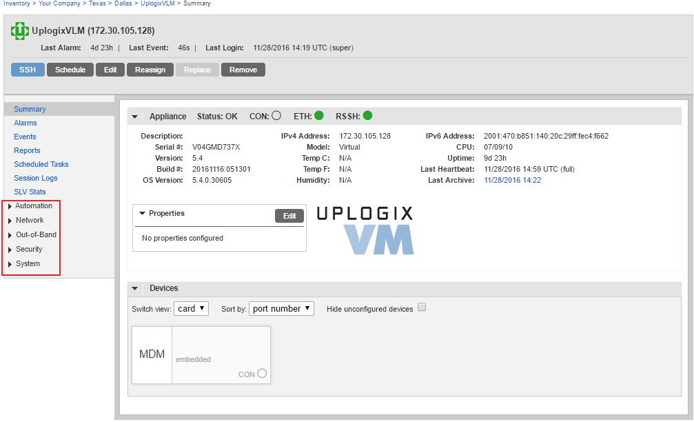 Uplogix Control Center - Local Manager Summary - Configuration