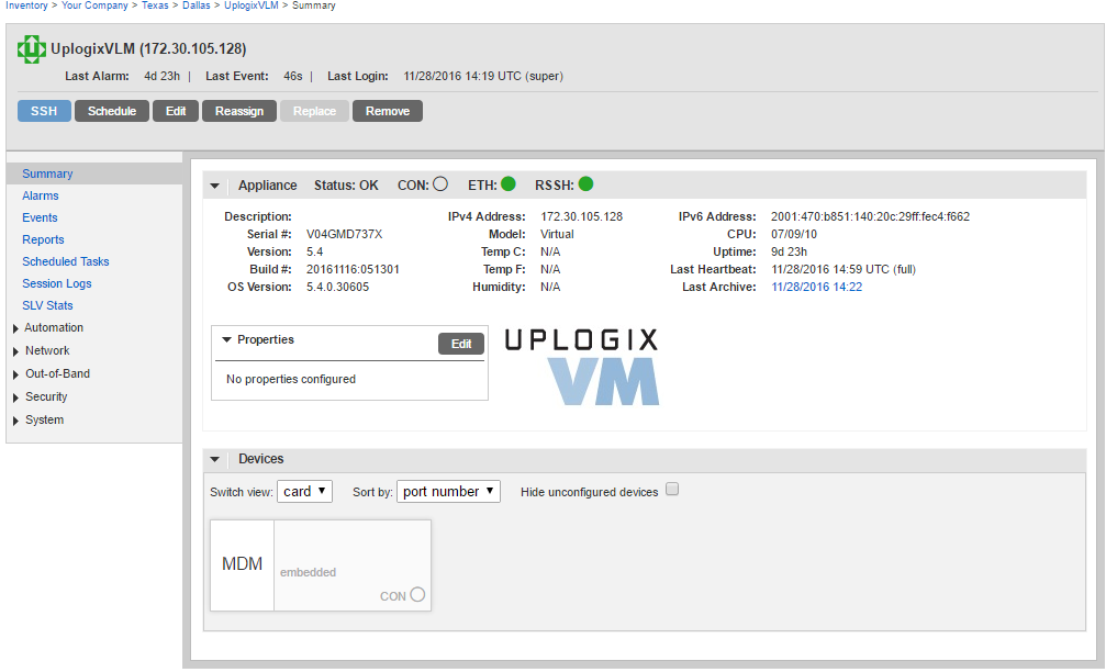 Uplogix Control Center - Local Manager Summary Page