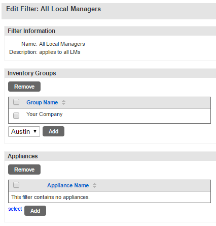 Uplogix Control Center - Edit Filter