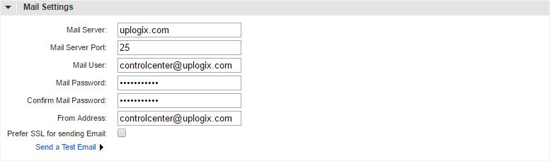 Uplogix Control Center Mail Settings