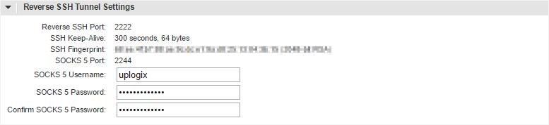 Uplogix Control Center Reverse SSH Settings