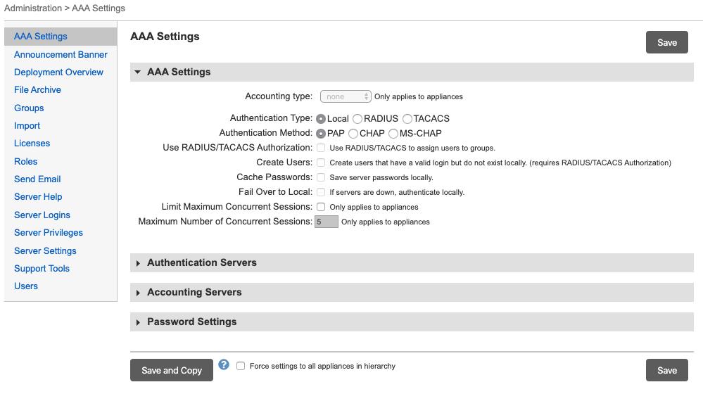 Uplogix Control Center - AAA Settings