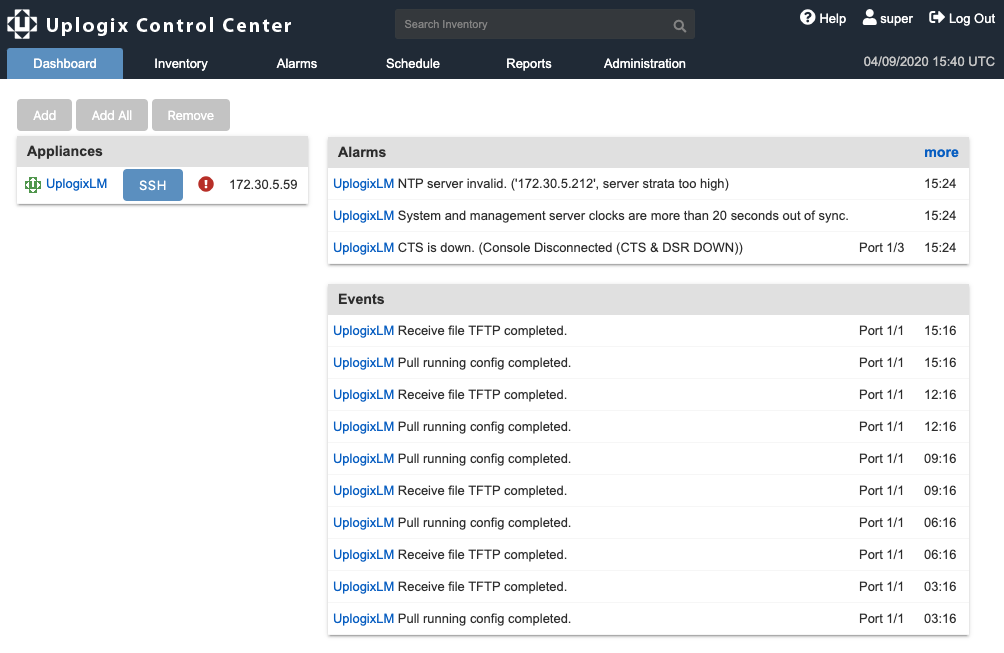 Uplogix Control Center - Dashboard Page