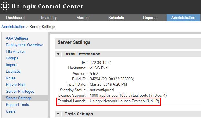 Uplogix Control Center - Terminal App UNLP Default