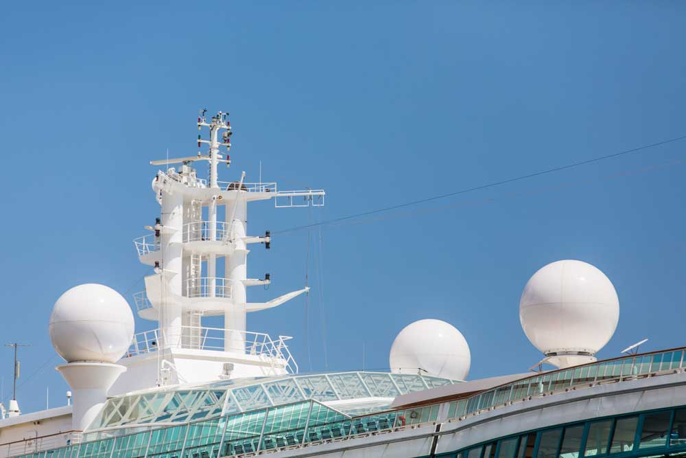 VSAT domes on a cruise ship