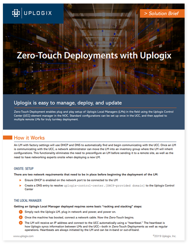 Zero Touch Deployment Solution brief
